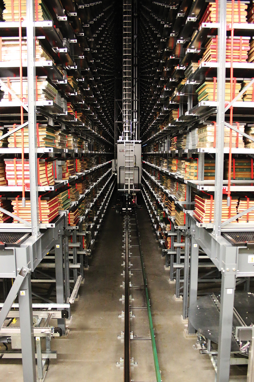 Shelves in the Boston Spa site.