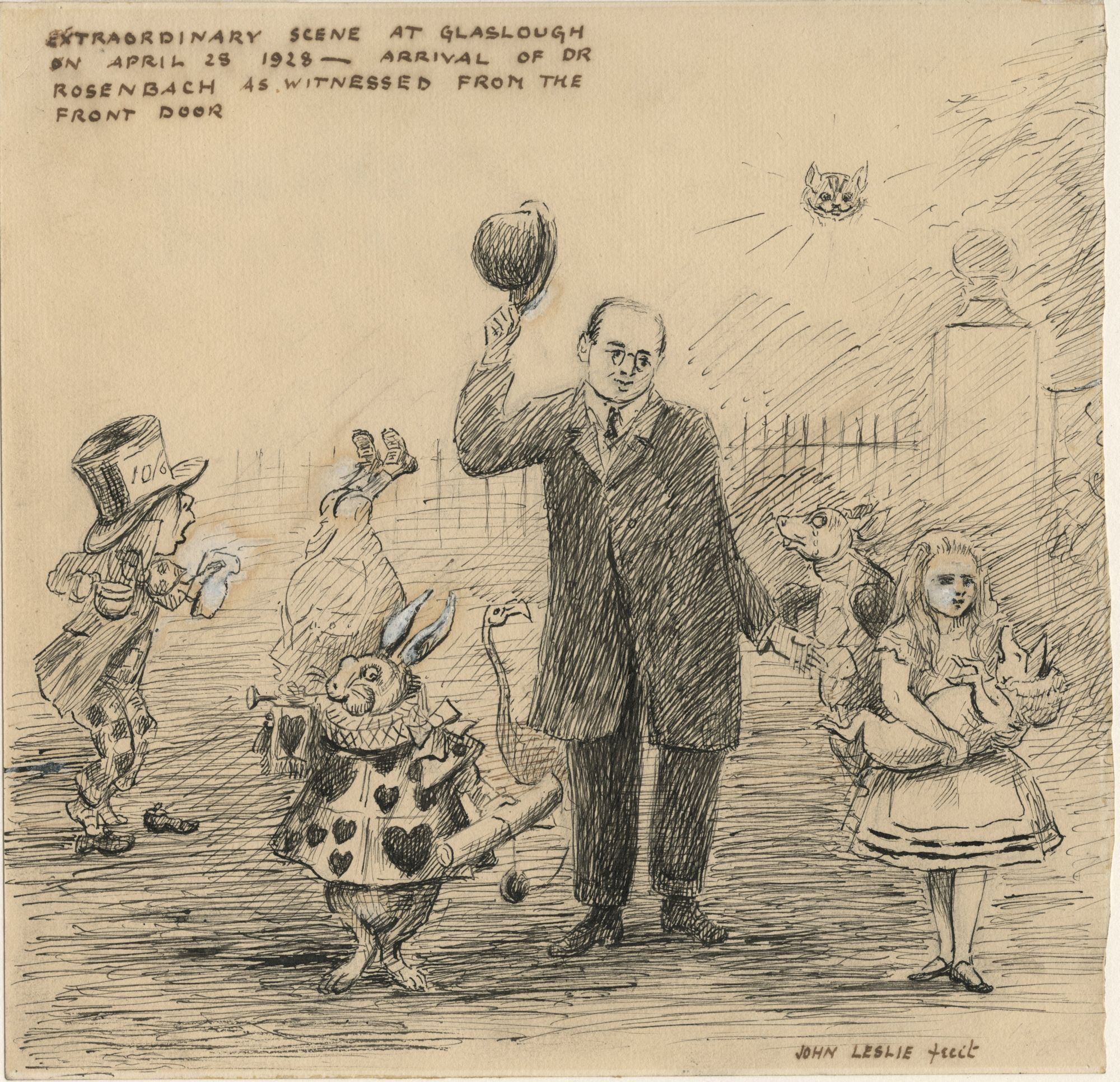 Illustration by Sir John Leslie of Dr Rosenbach surrounded by characters from Alice in Wonderland
