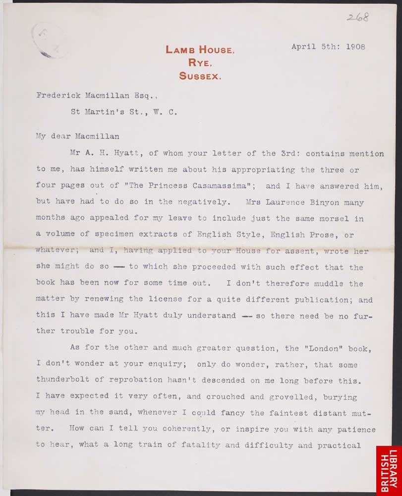 Henry James letter