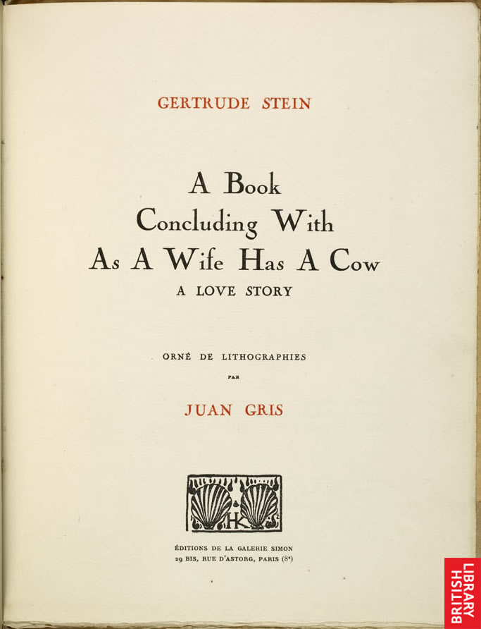 Gertrude Stein Wife Has a Cow