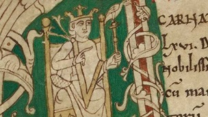 A historiated initial featuring a portrait of William the Conqueror, from the Chronicle of Battle Abbey.