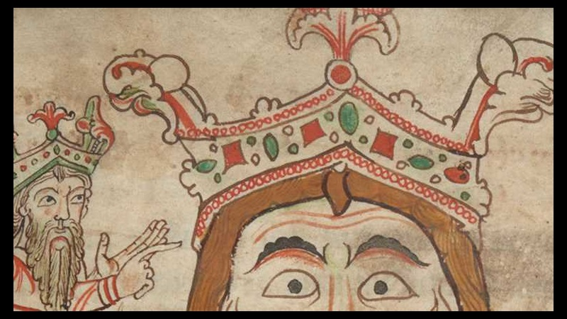 A portrait of the god Woden wearing a crown, alongside a smaller figure of an Anglo-Saxon king, from a 12th-century manuscript.