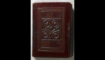Leather-bound front cover of manuscript