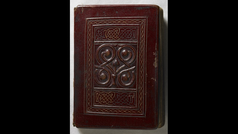 The upper cover of the St Cuthbert Gospel, made from red goatskin and decorated with panels of interlace.