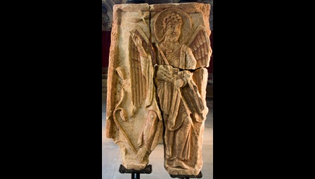 The Lichfield Angel, a limestone fragment, decorated with the carved figure of an angel.
