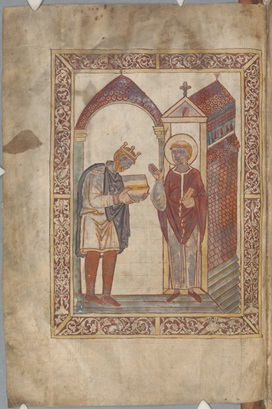 Manuscript page depicting King Æthelstan shown presenting a book to St Cuthbert