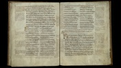Double page opening from a Latin manuscript