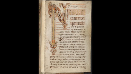 An elaborate decorated initial marking the opening of the Gospel of St Mark, from the Book of Durrow.