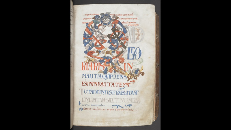 The opening of Psalm 51 from the Bosworth Psalter, featuring a large decorated initial with zoomorphic and interlace decoration.