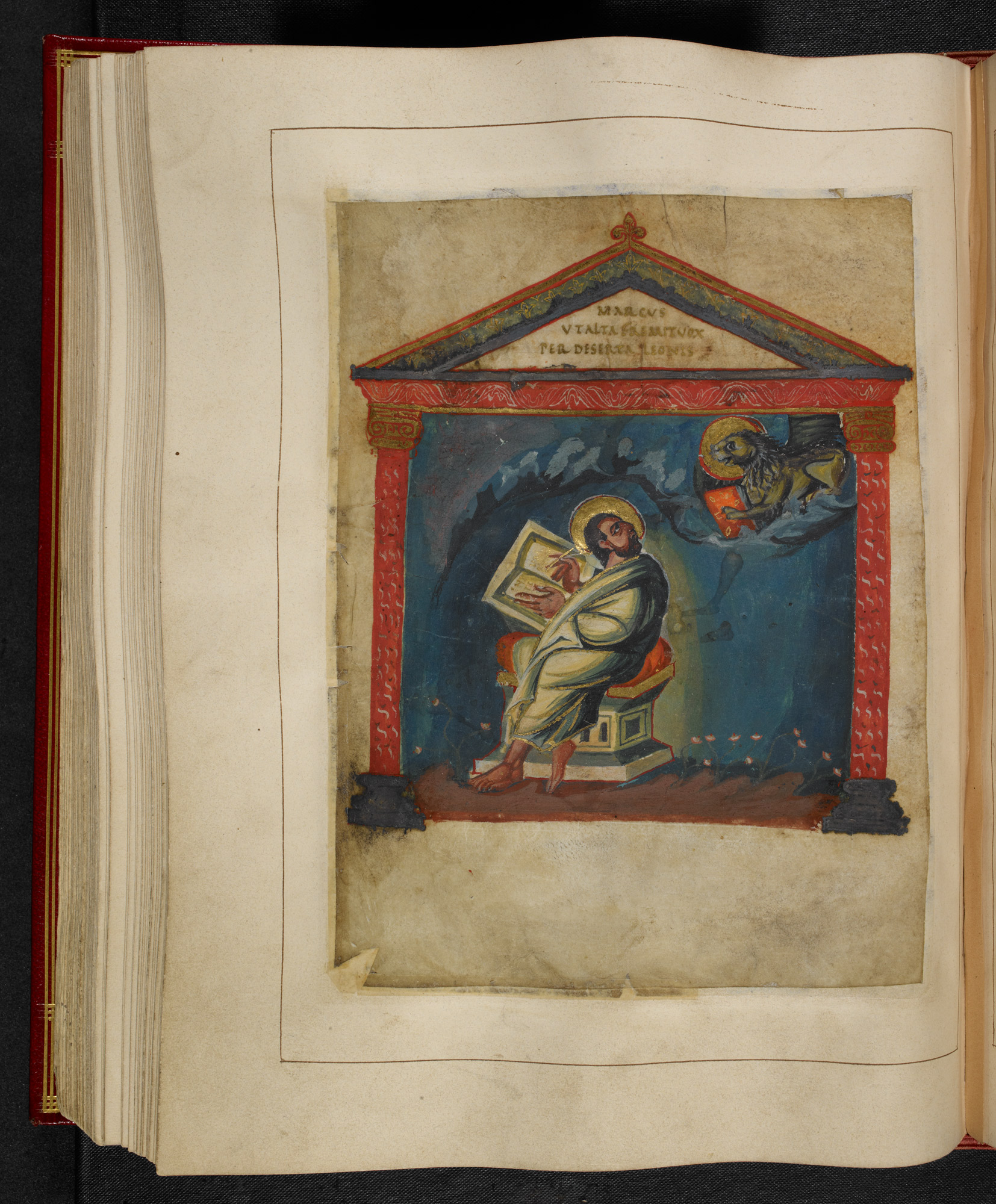 An illuminated page depicting an angel appearing to a scribe
