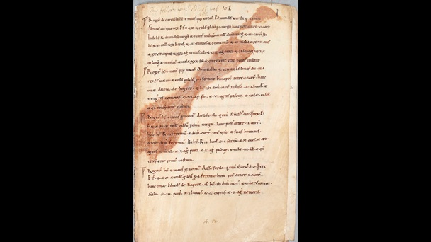 A text page from the Exon Domesday, showing the imprint of a rusty spearhead.