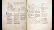 An opening from the Harley Psalter, showing the text of Psalms 13 and 14, with decorated initials in blue and red, and a series of illustrations interpreting different Psalm verses.