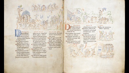Double paged manuscript with handwriting and various imagery