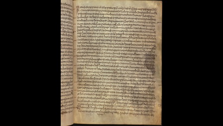 A text page from the earliest surviving manuscript of Bede's Ecclesiastical History.