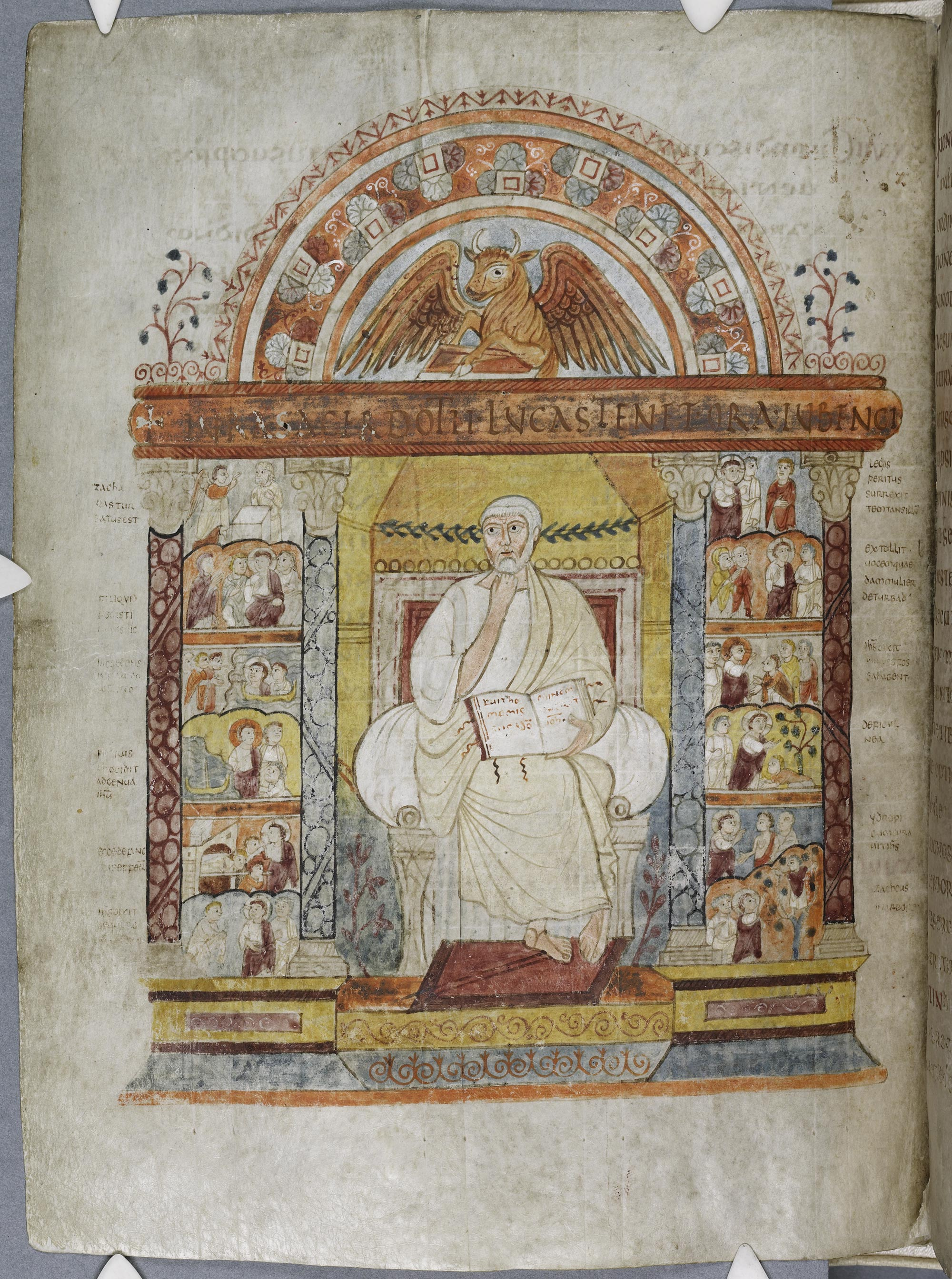 Illuminated page depicting a saint