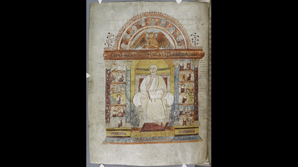 A portrait of the Evangelist St Luke, featuring illustrations of scenes from his Gospel and a winged bull above, from the St Augustine Gospels.