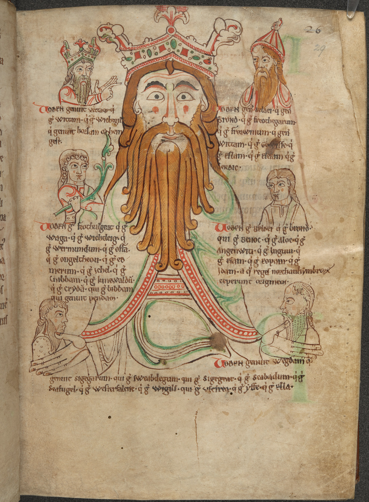 A manuscript page featuring a king with a long beard