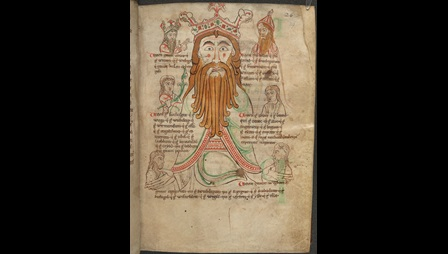 A full-page illustration of the god Woden with a long beard, surrounded by smaller portraits of crowned Anglo-Saxon kings said to be his descendants.