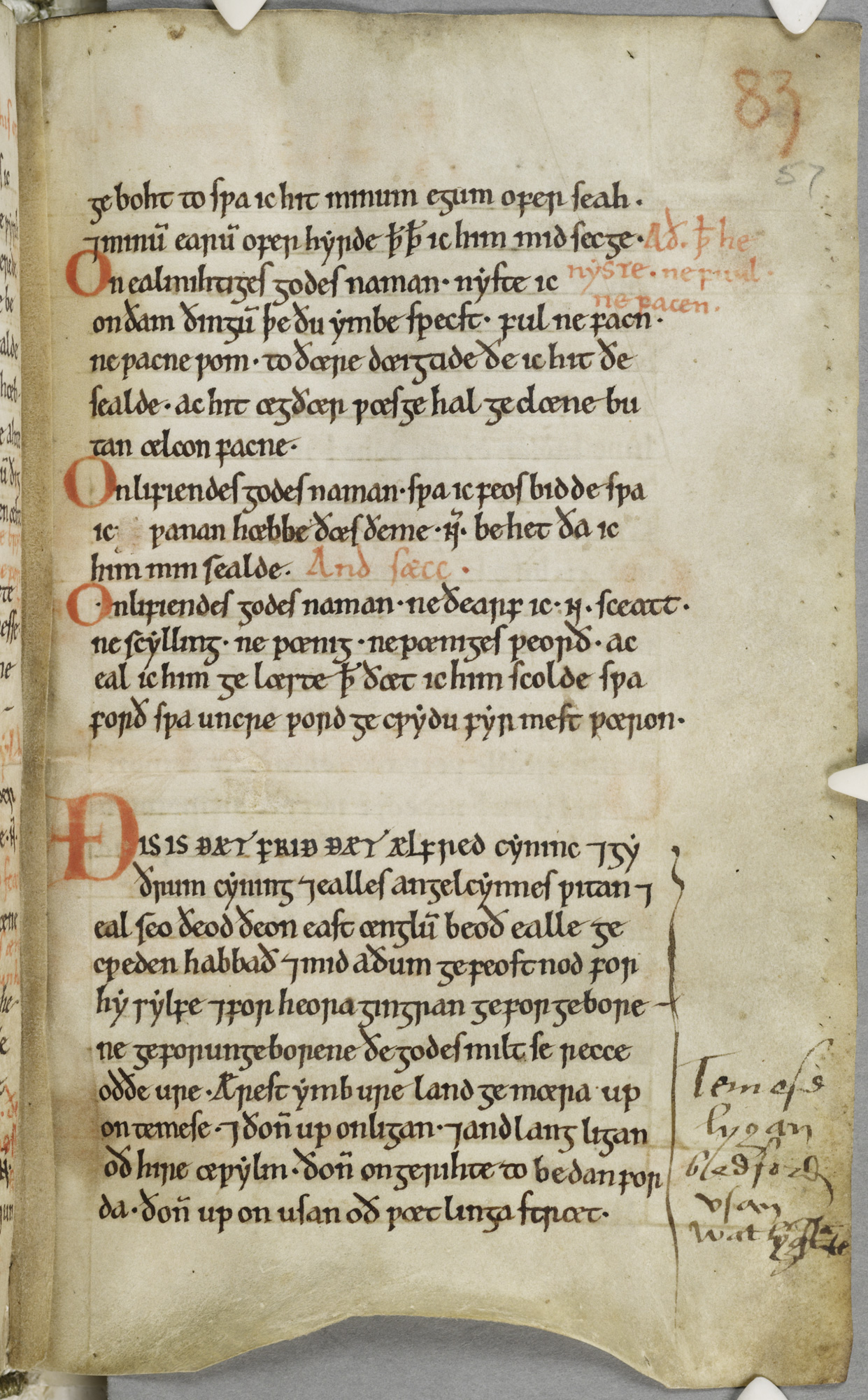 Page from an Anglo-Saxon manuscript with annotation