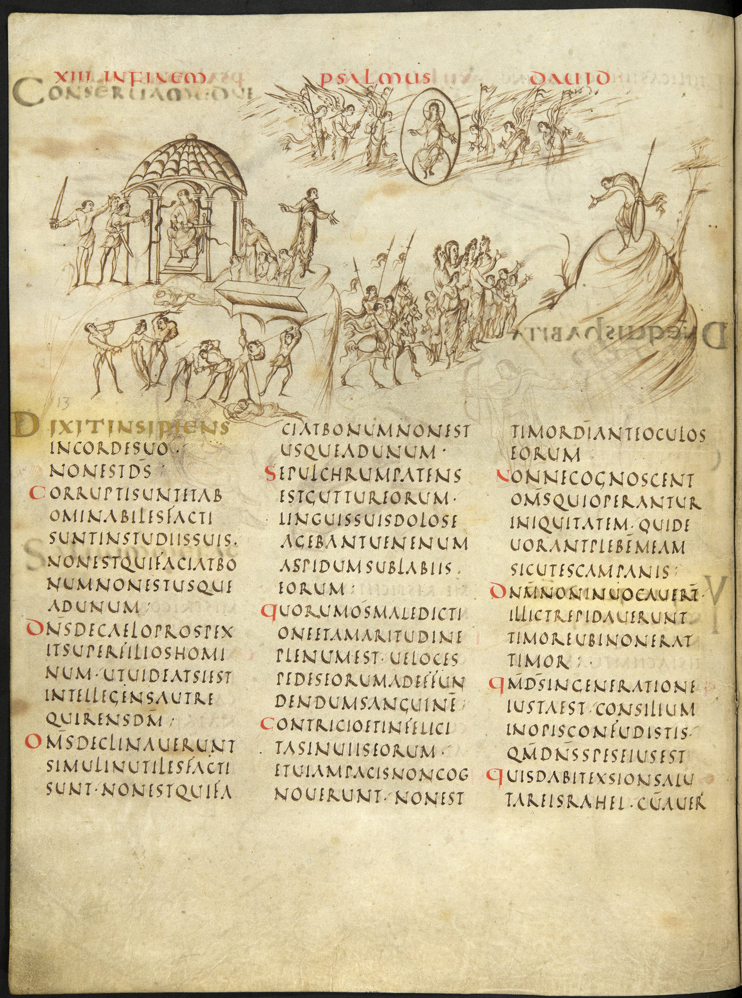 Page from an Anglo-Saxon manuscript with imagery