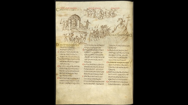 A page from the Utrecht Psalter featuring Psalm 13, with drawings interpreting different Psalm verses.