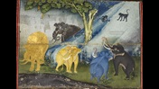 Illustration of mythical elephants playing in the heavenly Himavanta forest.