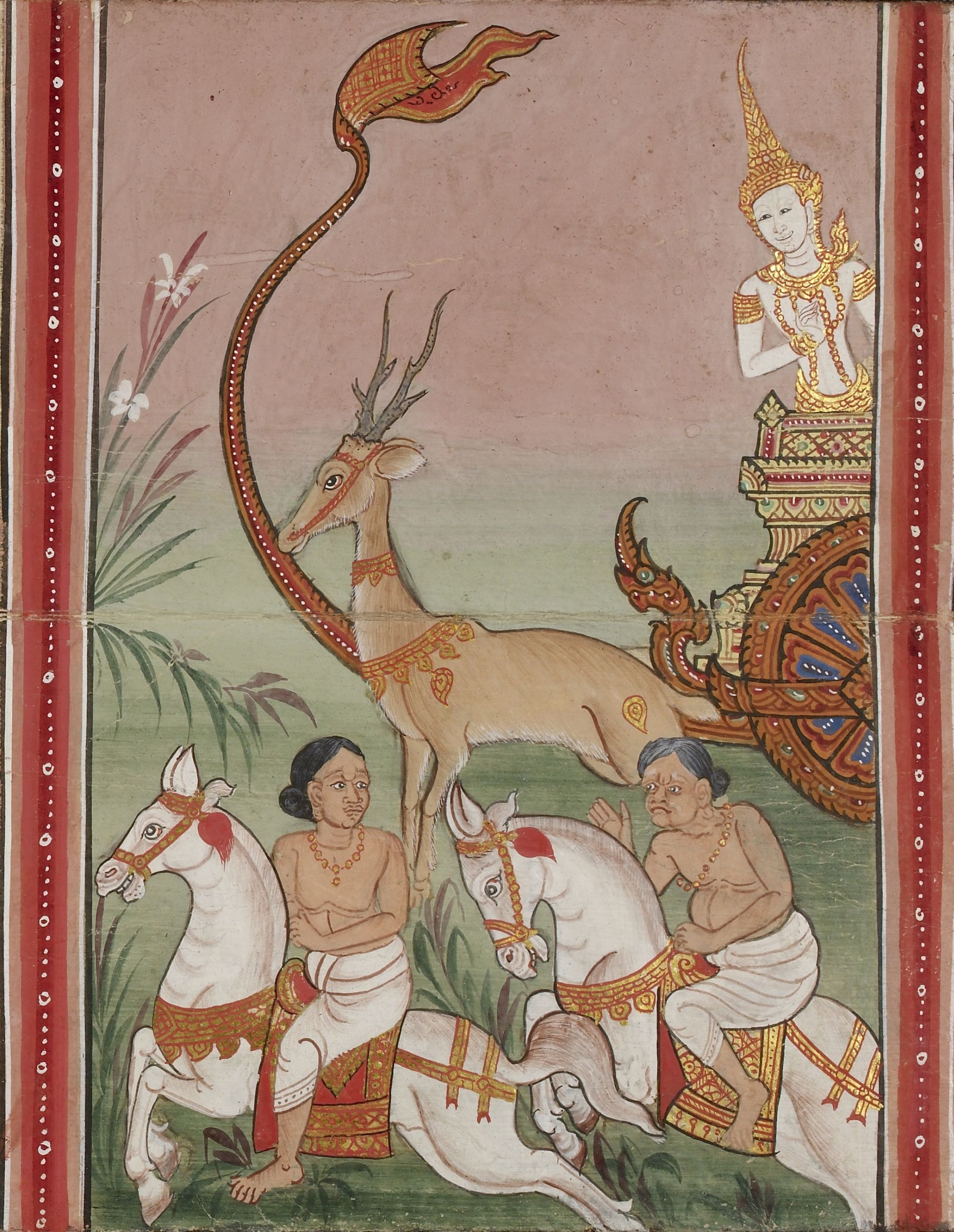 Buddhist texts with illustrations from the Ten Birth Tales (Thotsachāt)