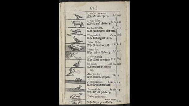 Page four of one of the first children's picture books Comenius Orbis sensualium pictus, 1659 edition.
