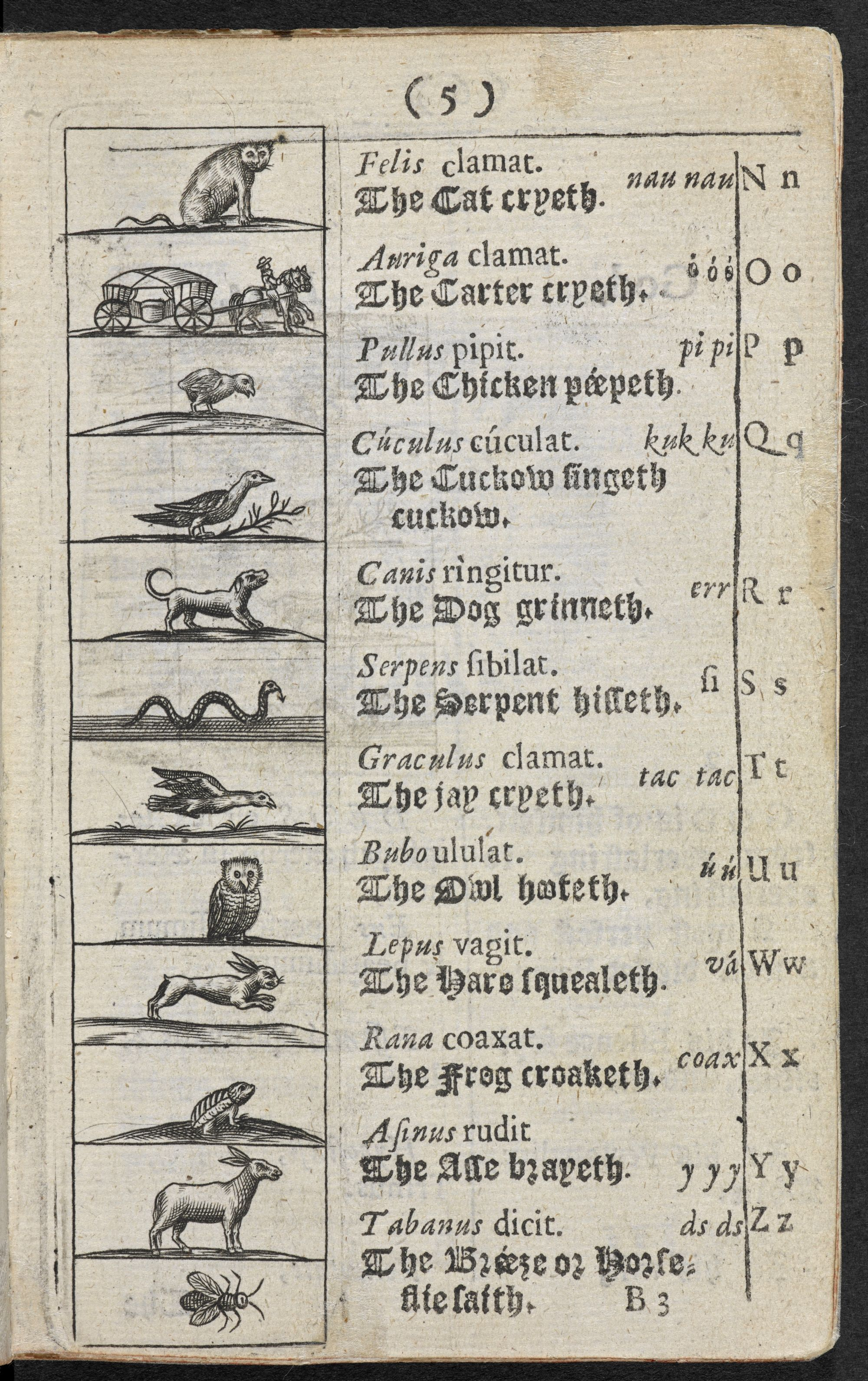 Page five of one of the first children's picture books Comenius Orbis sensualium pictus, 1659 edition.