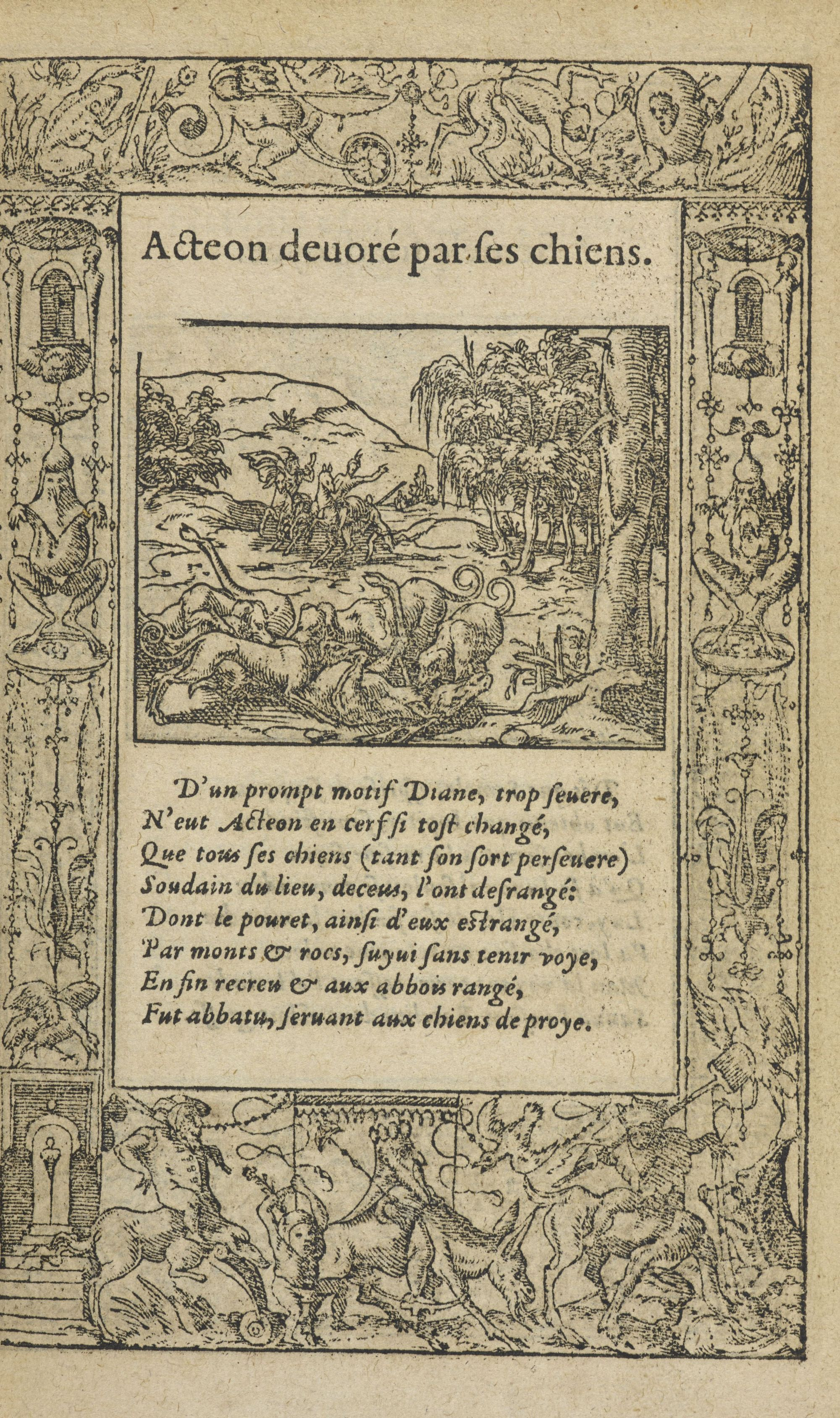 Page from Ovid's La Metamorphose d'Ovide figurée, 1583 edition.