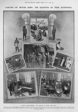 Photographic collage of lascars | Illustrated London News
