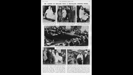 Photographs capturing Gandhi's visit to England and the state meetings he attended, printed in the Illustrated London News
