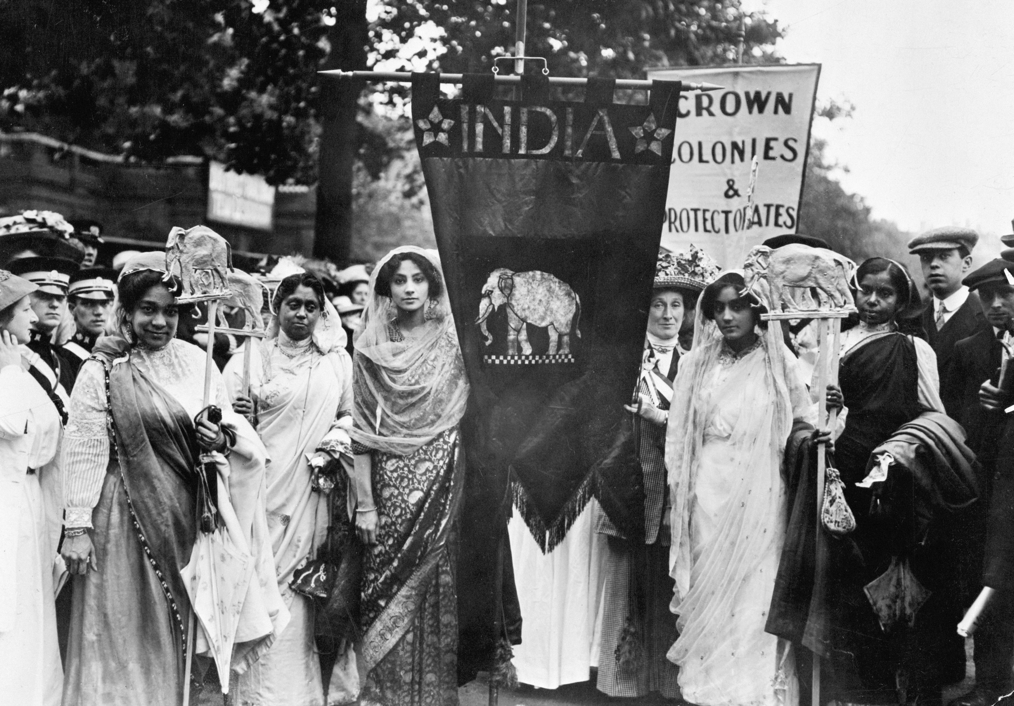 Photograph of Indian Suffragettes on the Women's Coronation Procession