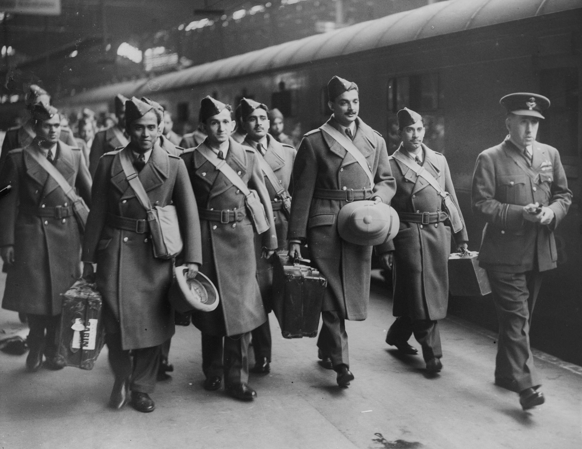 Photograph of Indian pilots arriving in the UK