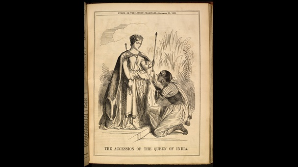 Cartoon of Queen Victoria as Queen of India and an Indian woman kneeling at her feet, from Punch magazine