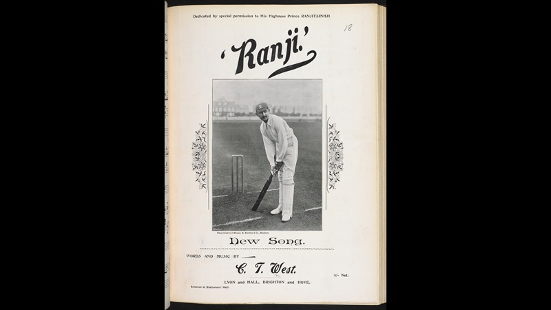 Photograph alongside song praising K S Ranjitsinhji's cricketing skills