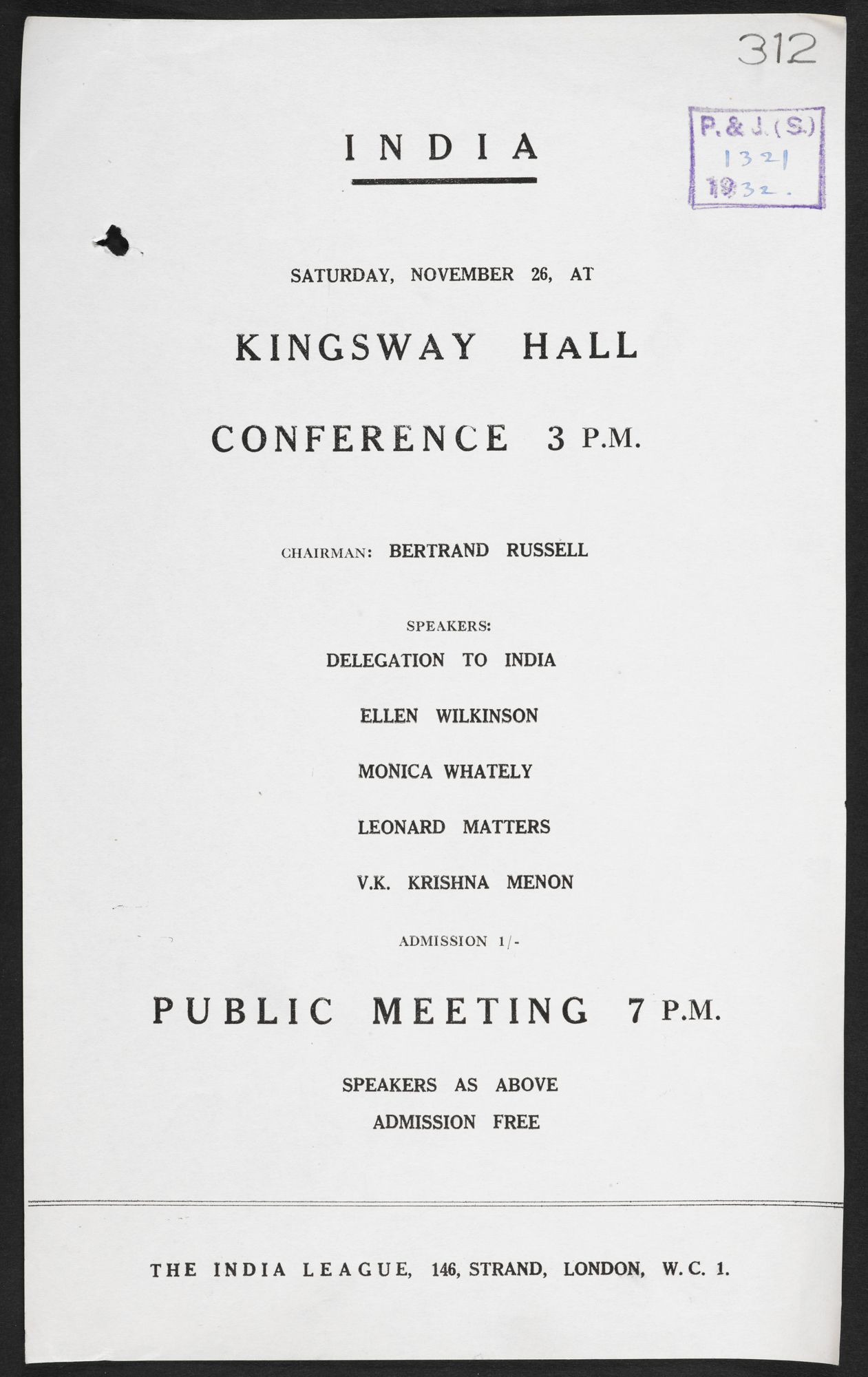 Poster for an India League meeting