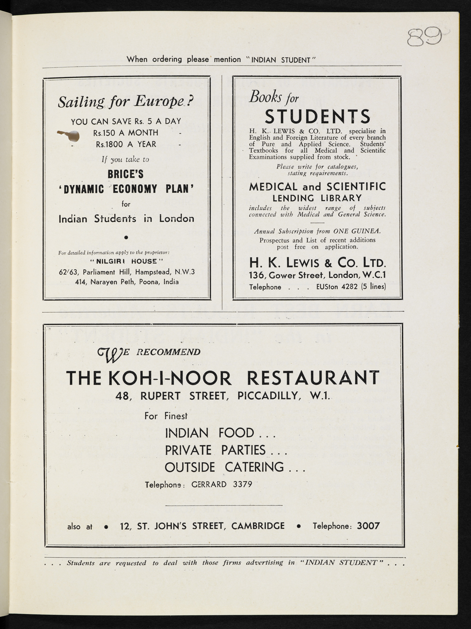 Advertisement for the Koh-I-Noor restuarant in London