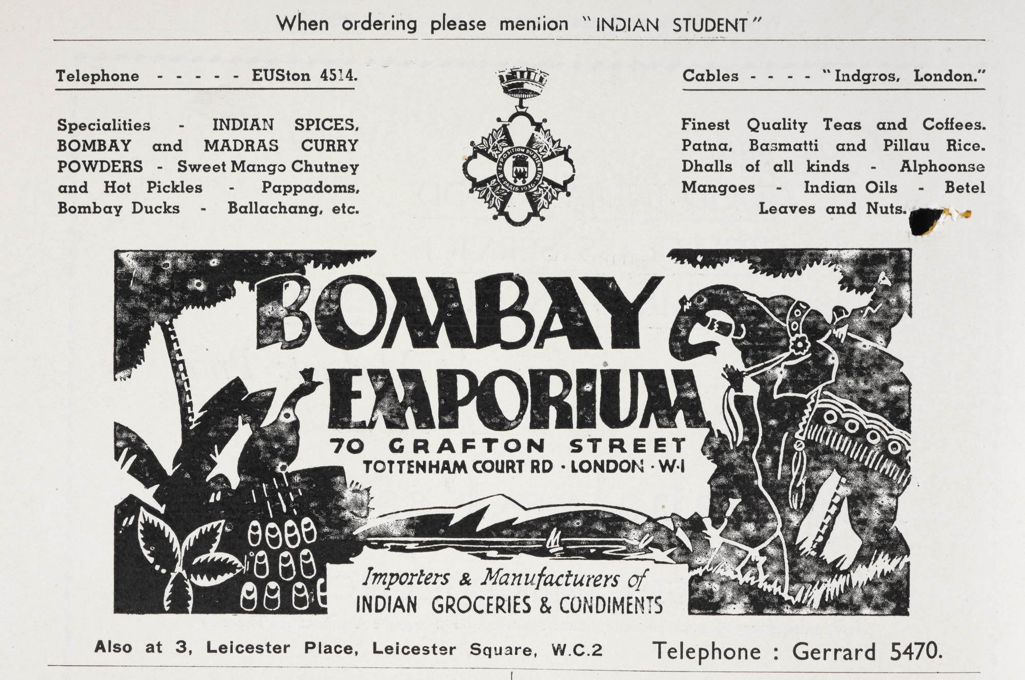Advertisement for the Bombay Emporium