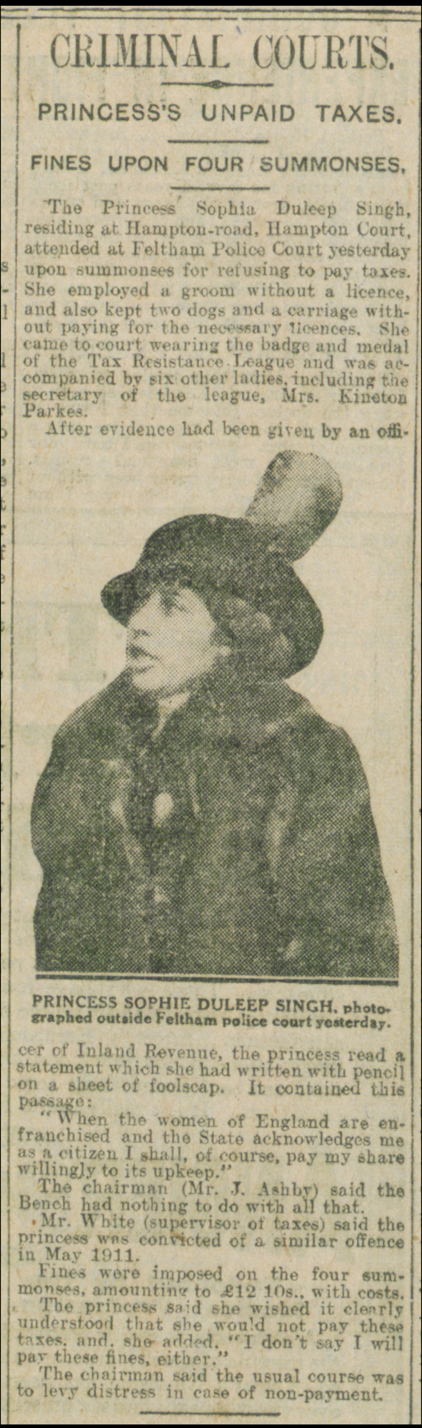 Newspaper article about Sophia Duleep Singh's trial