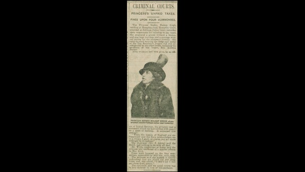 Newspaper article about Sophia Duleep Singh's trial, with a portrait