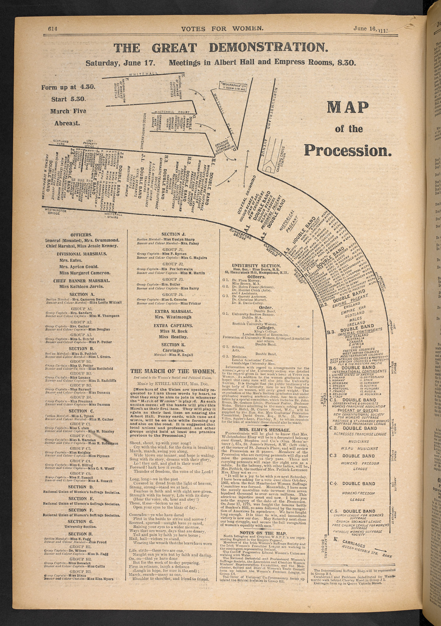 Plan of the route for the Suffragette's Coronation Procession in June 1911