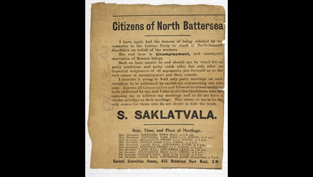 Advertisement for Saklatvala's political campaign in 1931, North Battersea