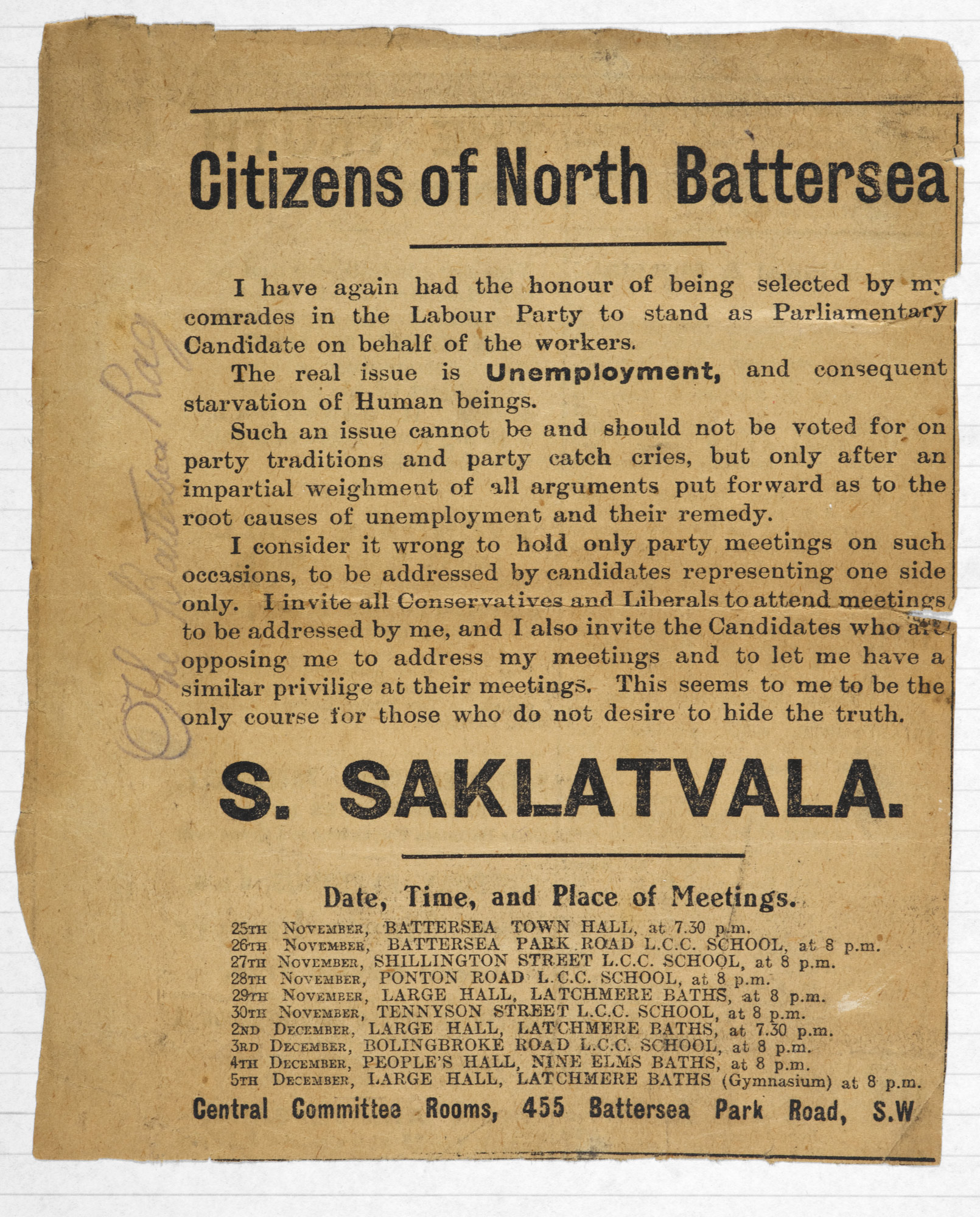 Advertisement for Saklatvala's political campaign in 1931