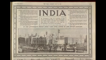 Advertisement for the Indian Pavillion and British Empire Exhibition, containing a photograph