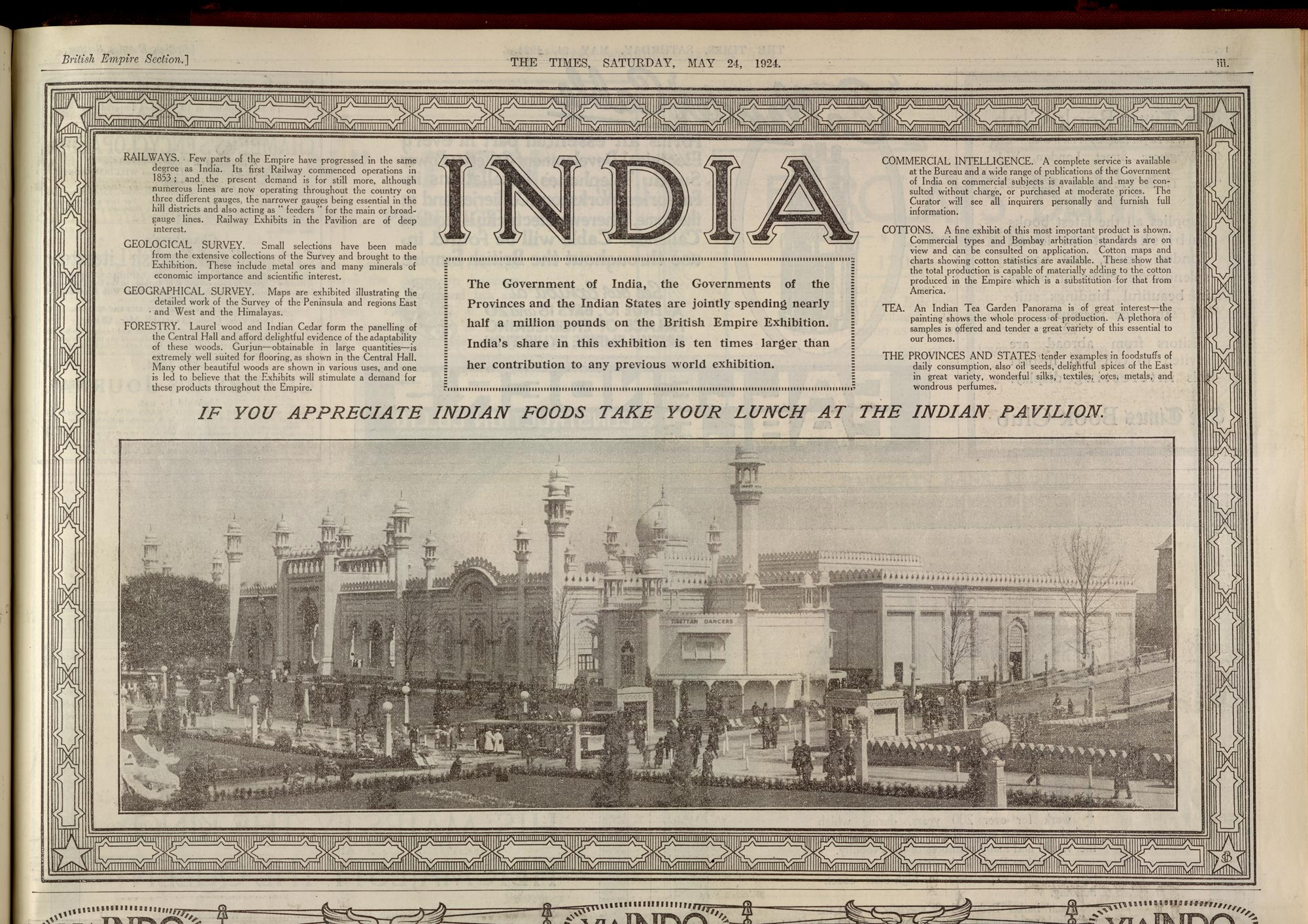 Advertisement for the Indian Pavillion and British Empire Exhibition