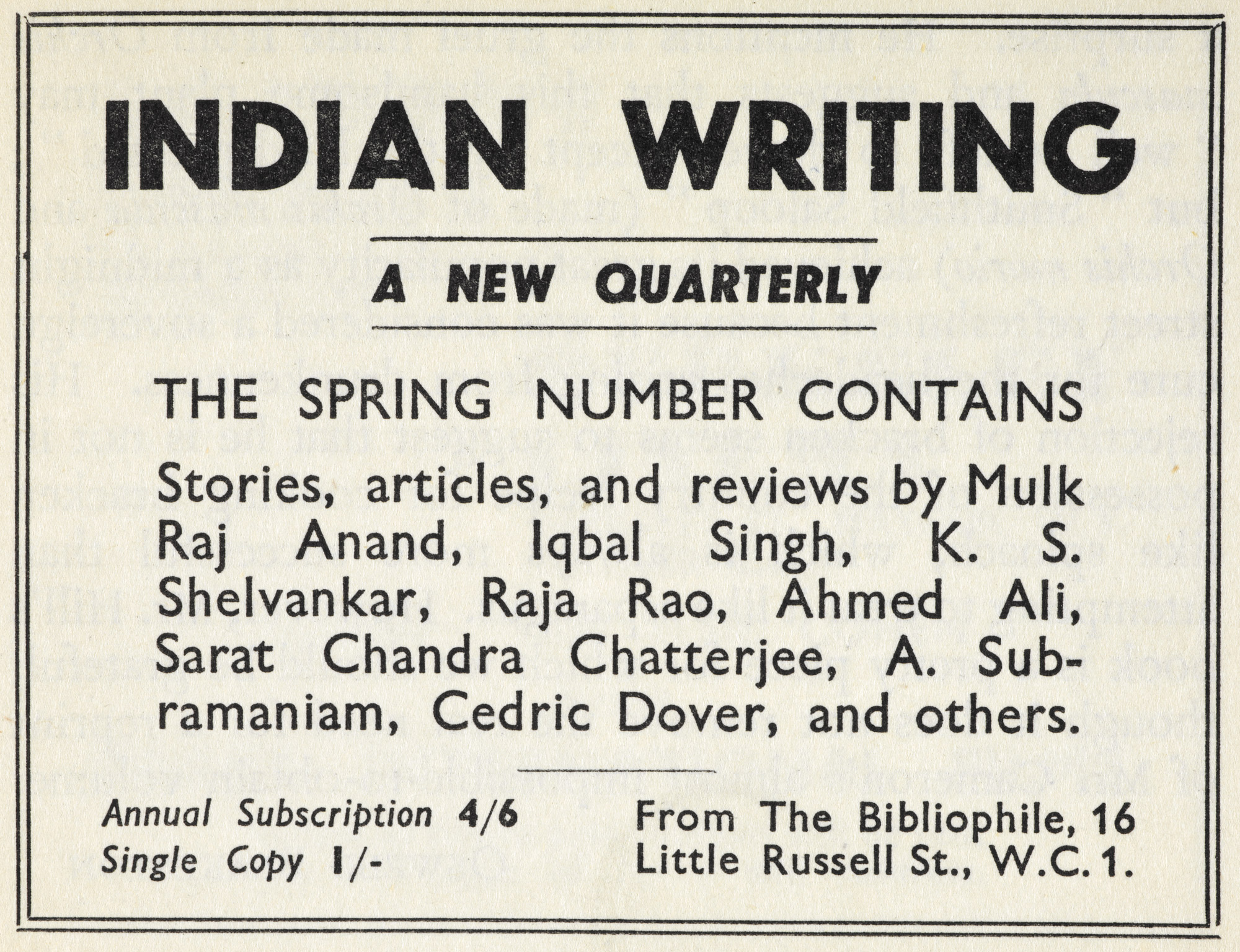 Advertisement for the Indian Writing magazine