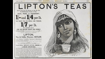 Advertisement for Lipton's tea, with an illustration of an Indian woman holding a cup of tea