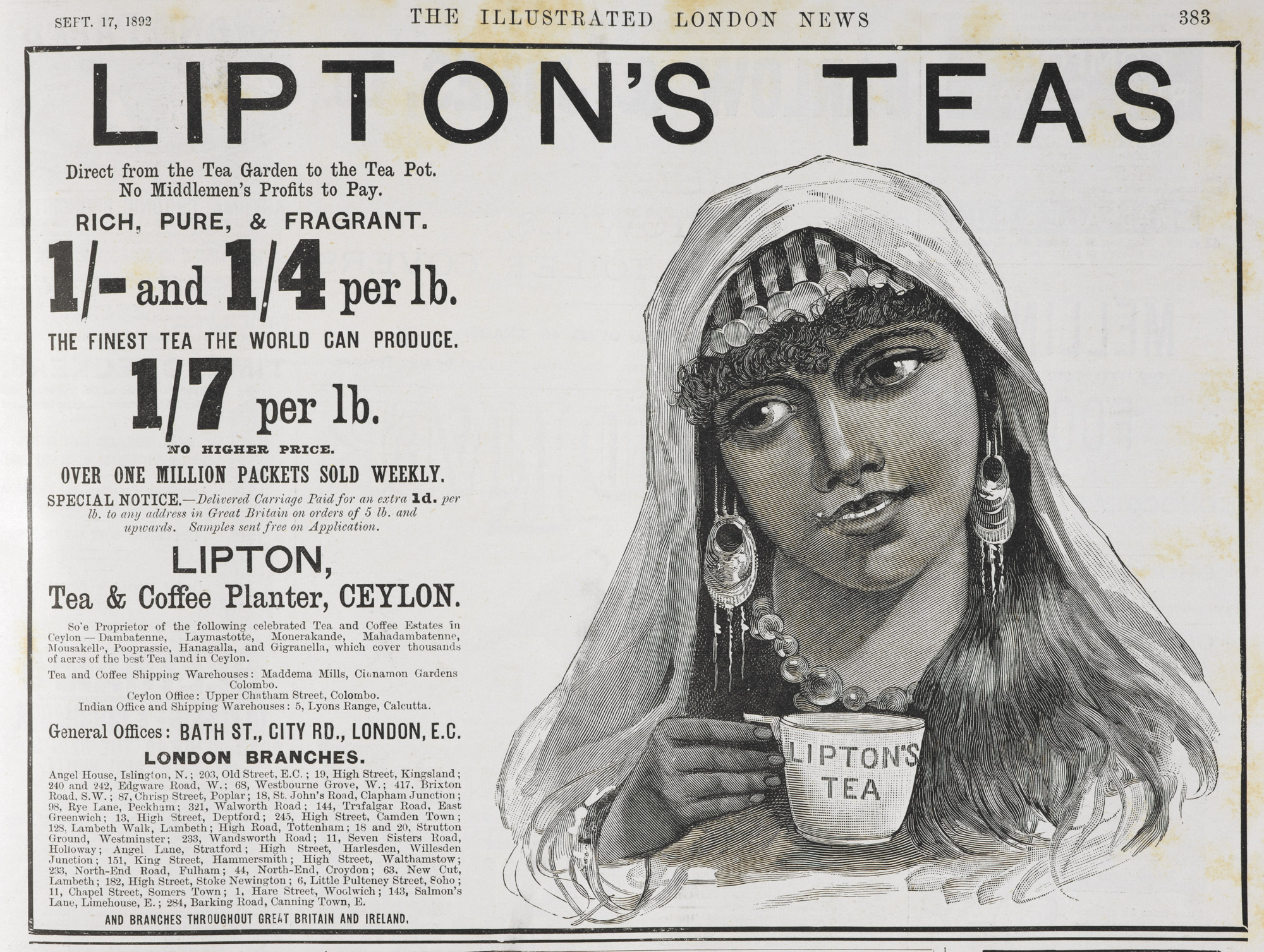 Advertisement for Lipton's tea
