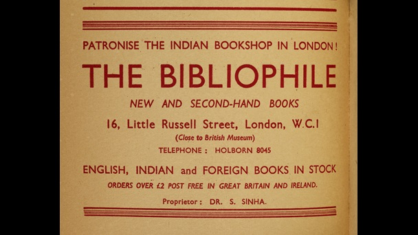 Advertisement for Bibliophile Bookshop
